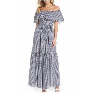 Off the shoulder Gingham Blue & White Maxi Dress